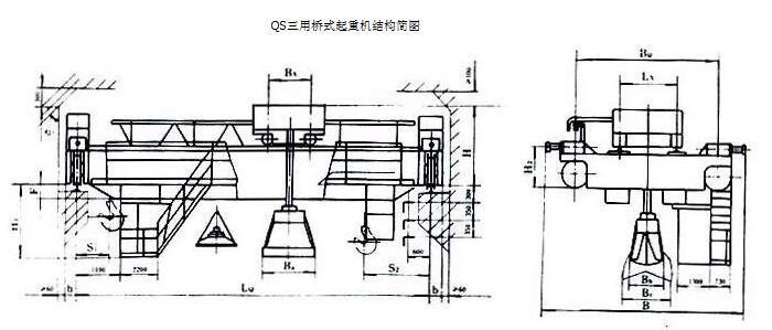 三用桥式起重机结构简图