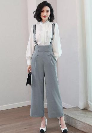 优雅小衬衫+背带阔腿裤套装