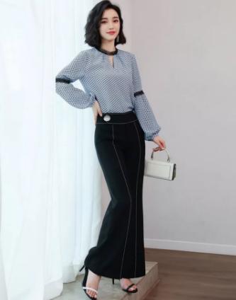 雪纺衫+阔腿裤套装