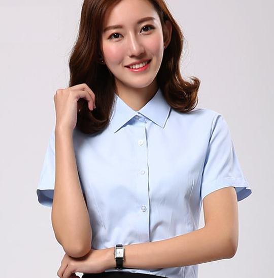 重慶工裝襯衣定制,女士短袖襯衫,修身白襯衣定制