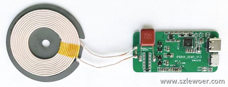 英集芯推出的一款IP6808无线充电发射端SOC测试样板