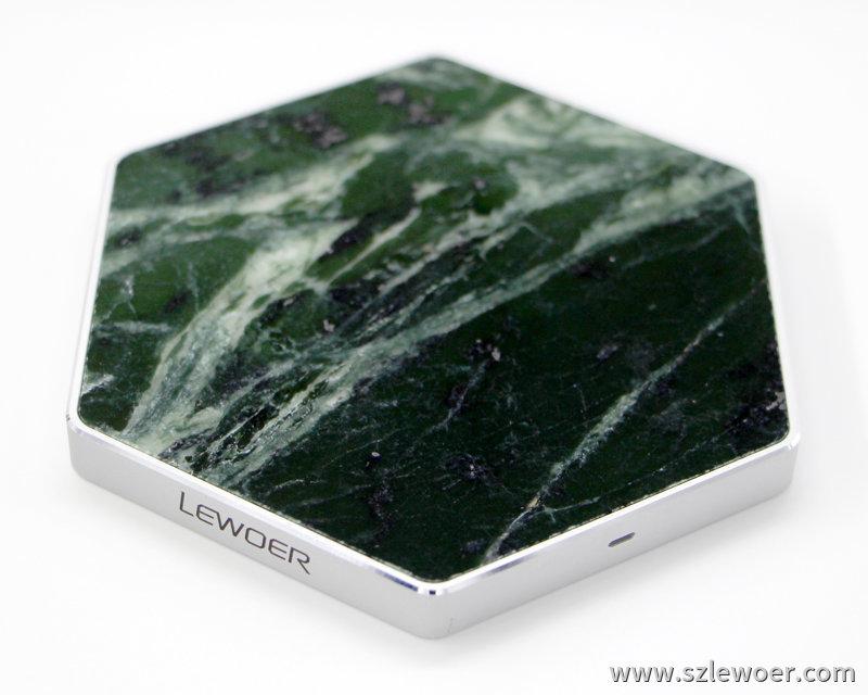 利行者LEWOER天然大理石无线充电器六角形款
