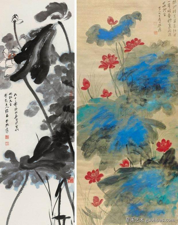 荷花写意中国画作品赏析-01