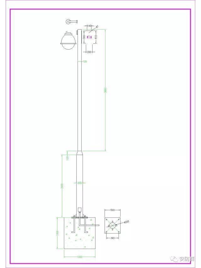 常用电棍立杆设计图纸