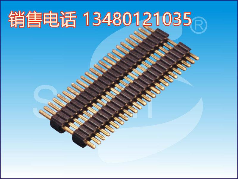 PH2.54 2X17P H2.5双塑 180度 L40.4/3.0/6.0 PA6T, 双塑排针, 总针长40.4毫米