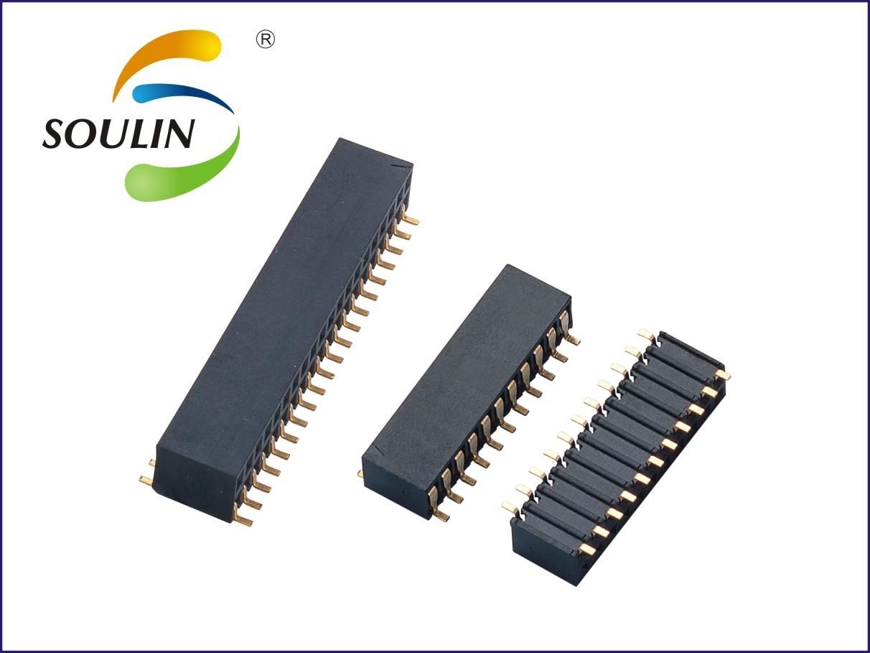 2.54排母 单排双排高度5.9 侧插卧式贴片排母连接器厂家直销深圳工厂