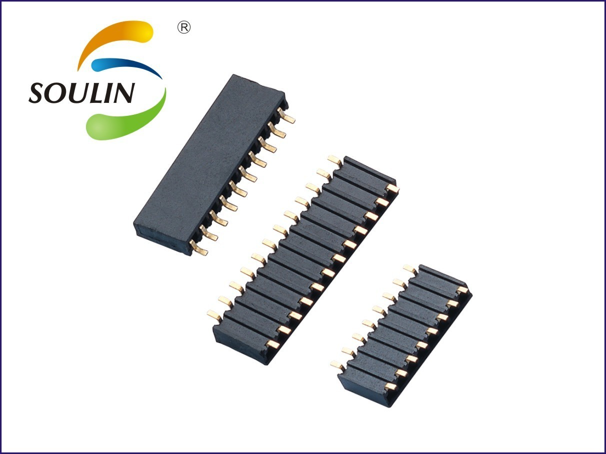 侧插式贴片排母2.54间距单排双排 侧插SMD母座5.9胶高环保材料