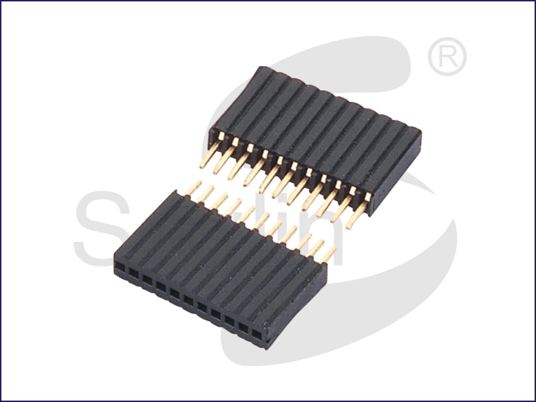 双排排母 间距2.54 2xNPin 塑胶高度8.5毫米 H8.5 O型防漏锡端子 180度