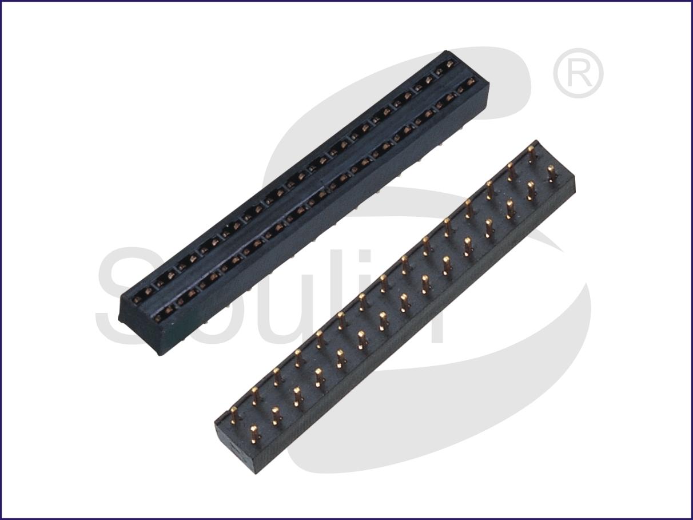 排母工厂2.54 单排 高度6毫米 ,  H6.0 180度 四面包防漏锡 PC3.3