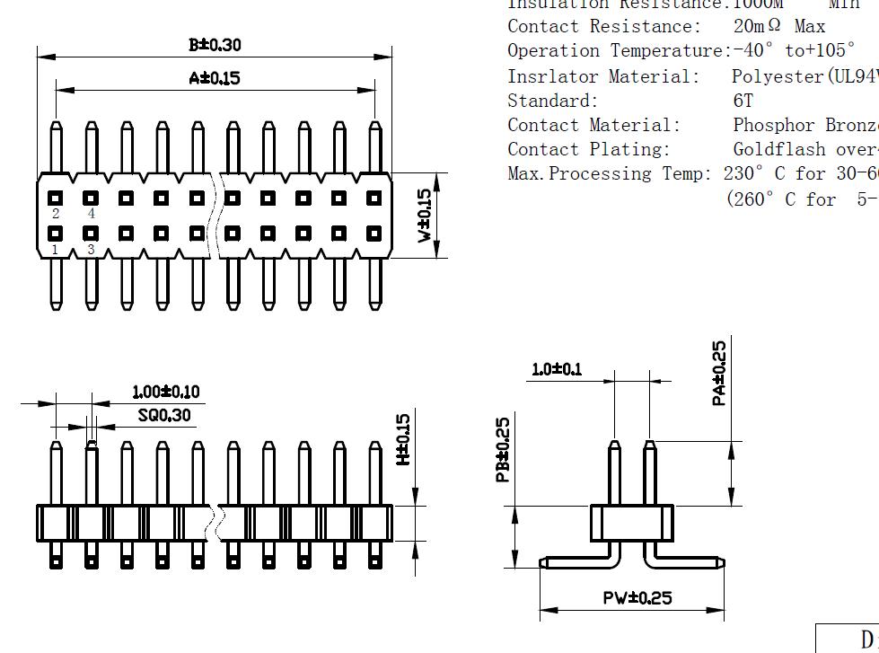 1.0mm间距贴片镀金排针 规格书 深圳工厂