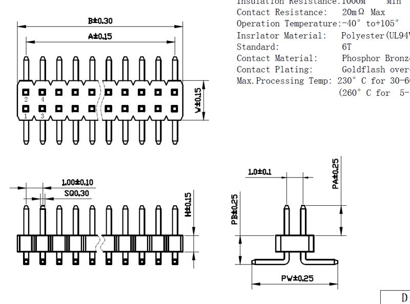 1.0mm双排贴片排针图纸