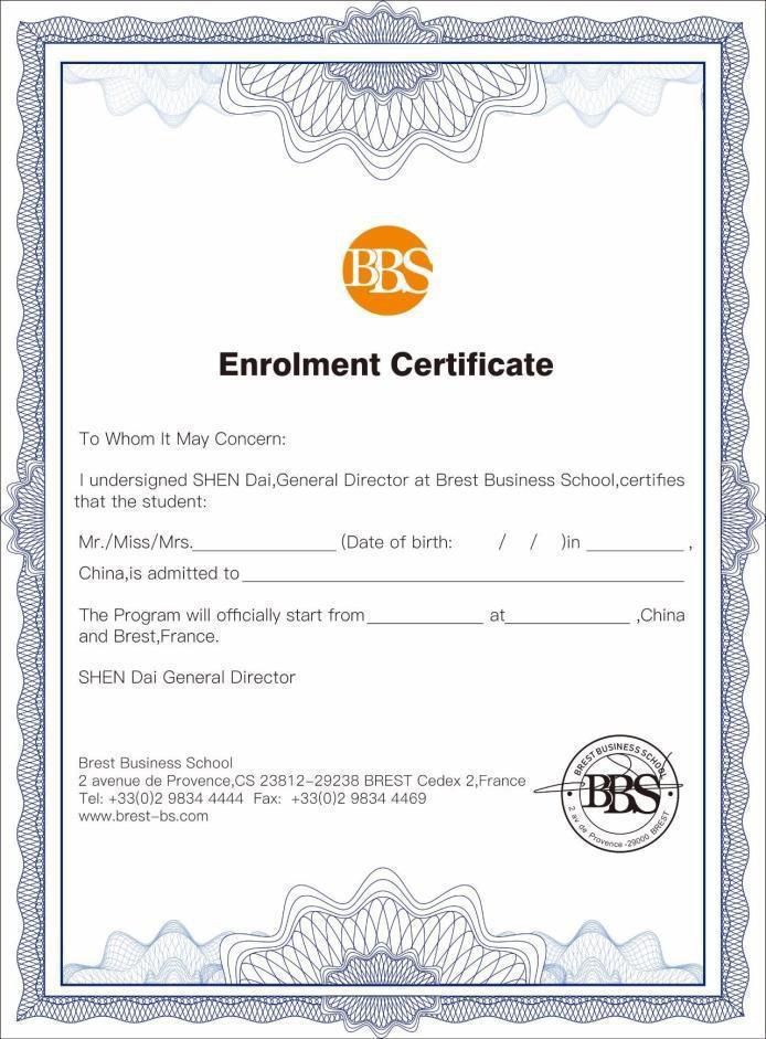 布雷斯特商学院资产管理与金融专业硕士学位证书
