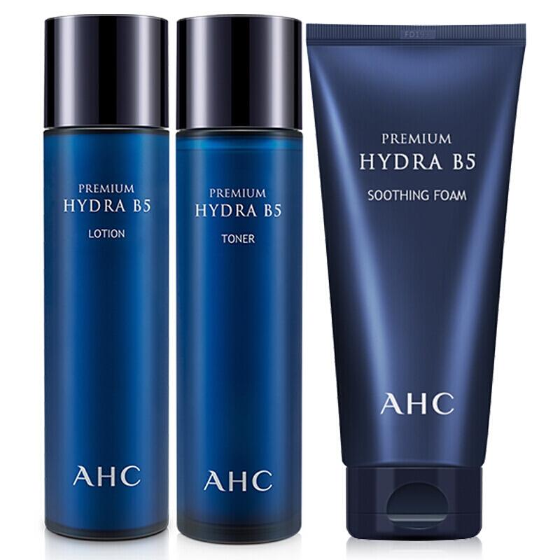 韩国AHC代理 AHC玻尿酸洗水乳护理套装货源