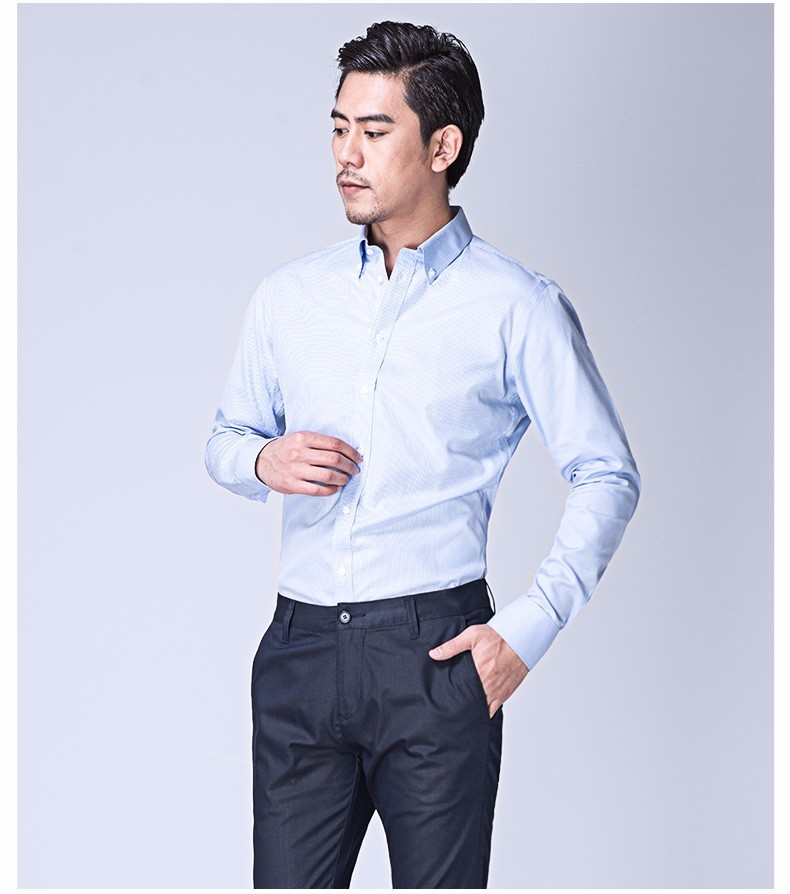 经典蓝白色格纹男士长袖衬衣