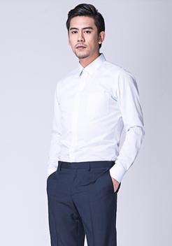 白蓝条纹男士长袖衬衣