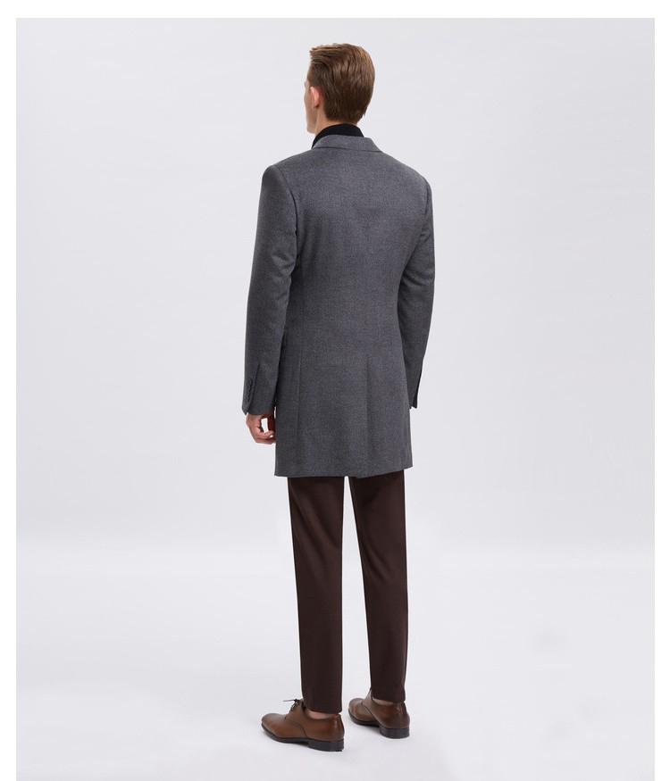 灰色单排扣经典大衣