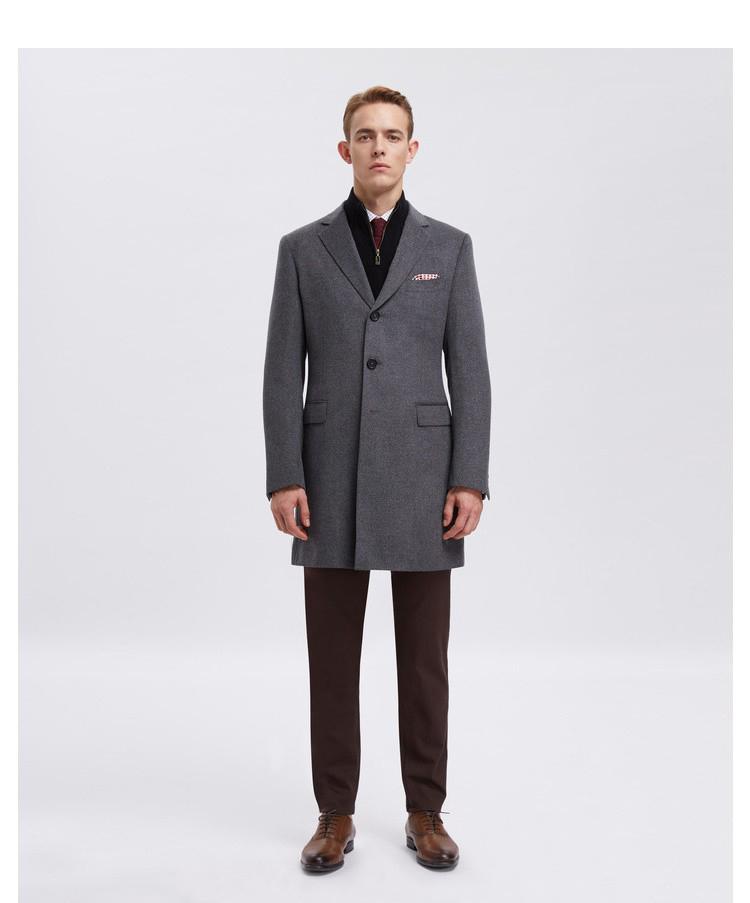 男士灰色单排扣经典大衣定制