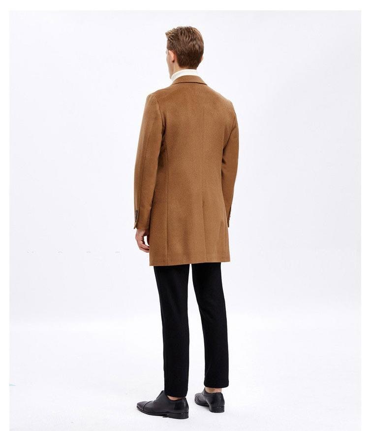 重庆男士羊绒定制,驼色羊毛大衣订制
