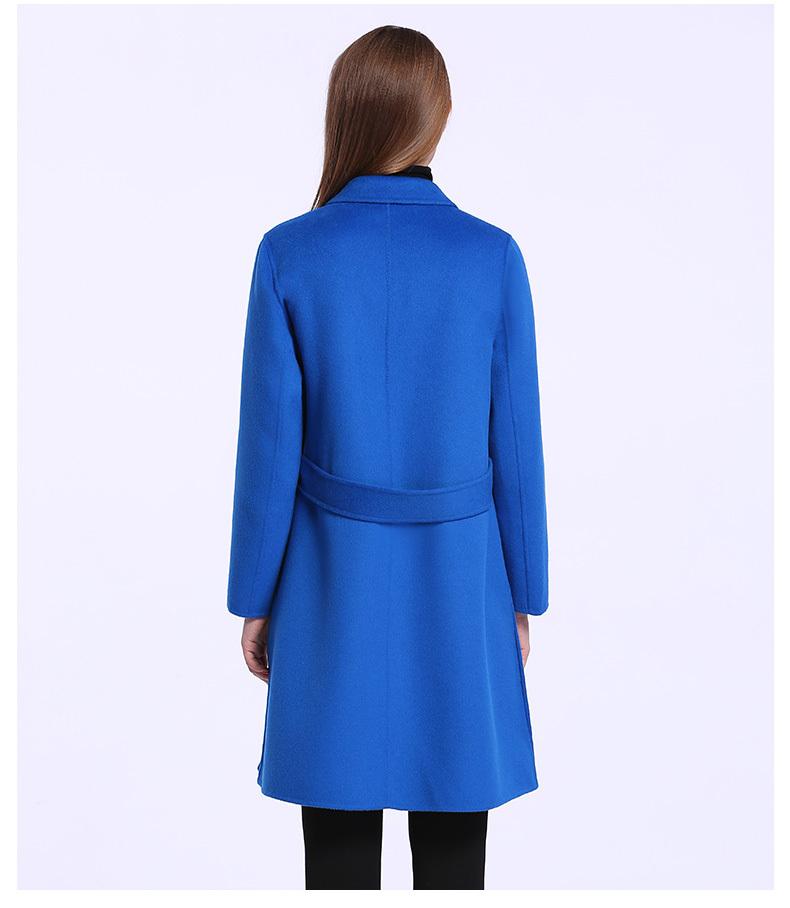 重庆宝蓝色时尚女士毛呢大衣定制