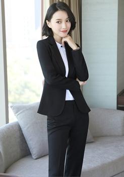 黑色职业装套装修身款