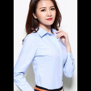 蓝色条纹女衬衫收腰款