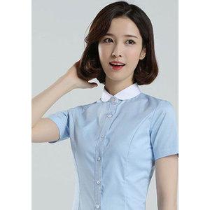 女士蓝色短袖衬衣