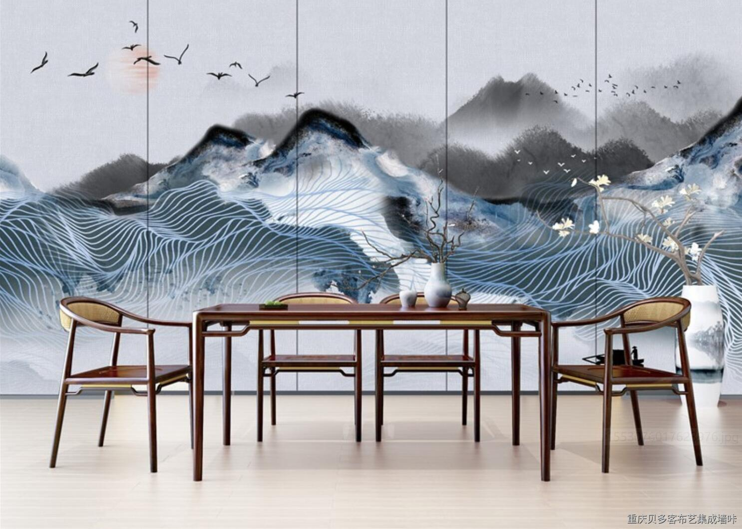 贝多客新中式禅意大气山水背景墙