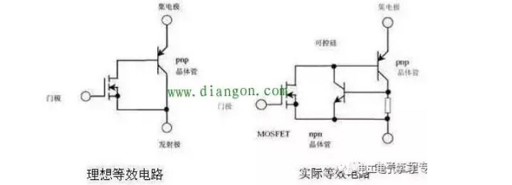 IGBT的理想等效电路及实际等效电路