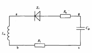 图6 正脉冲下降沿等效电路