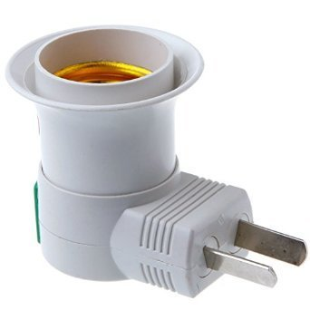 E27 to US Plug Adapter Switch white