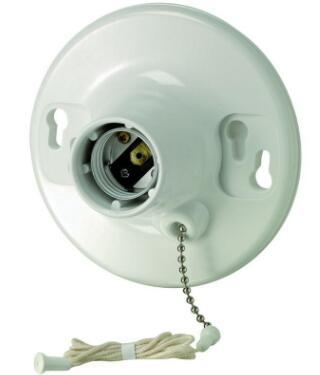 Plastic light bulb socket with pull chain white