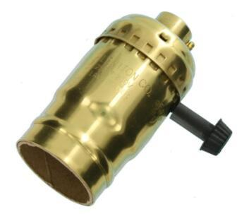 Brass lamp holder with switch Turn Knob For 3-Way Lamps