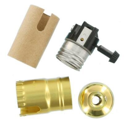 Brass lamp holder with switch four parts