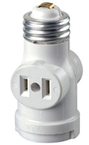 2-Outlet White led sockets with Pull Chain
