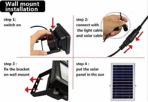 5W led flood light with solar panel wall mount