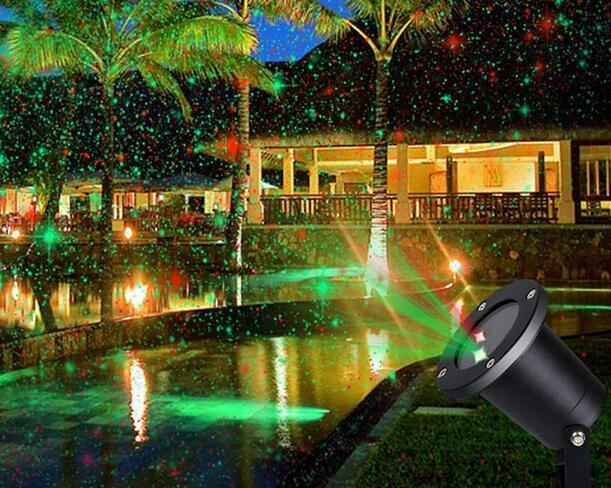 solar powered landscape spotlights at night