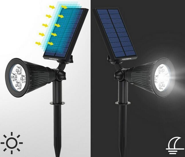 best led solar spot lights outdoor for yard lawn pathways