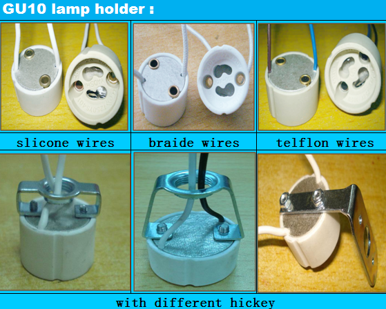 gu10 led holder with 15cm wires types