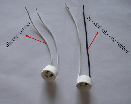 240v gu10 lamp holder with silicone rubber wires