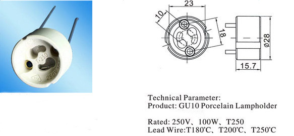 Gu10 lamp holder with tail chart size