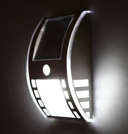 Stainless steel solar garden lamps at night