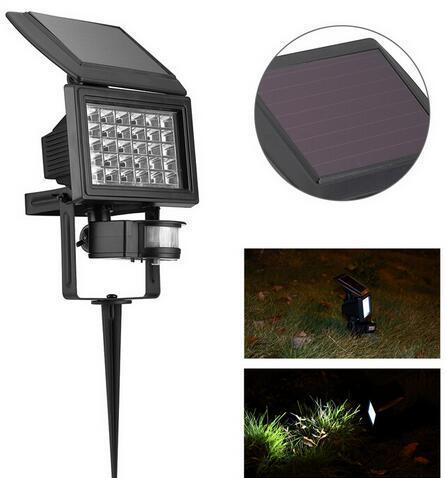 PIR motion sensor solar powered lawn flood lights with Ground Spike
