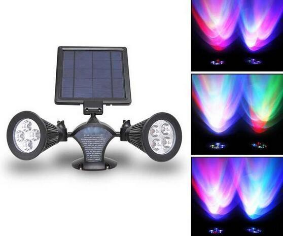 Wireless 400 Lumens RGB 8LED solar powered yard spotlight