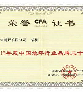 2015年度中国地坪行业品牌二十强荣誉证书