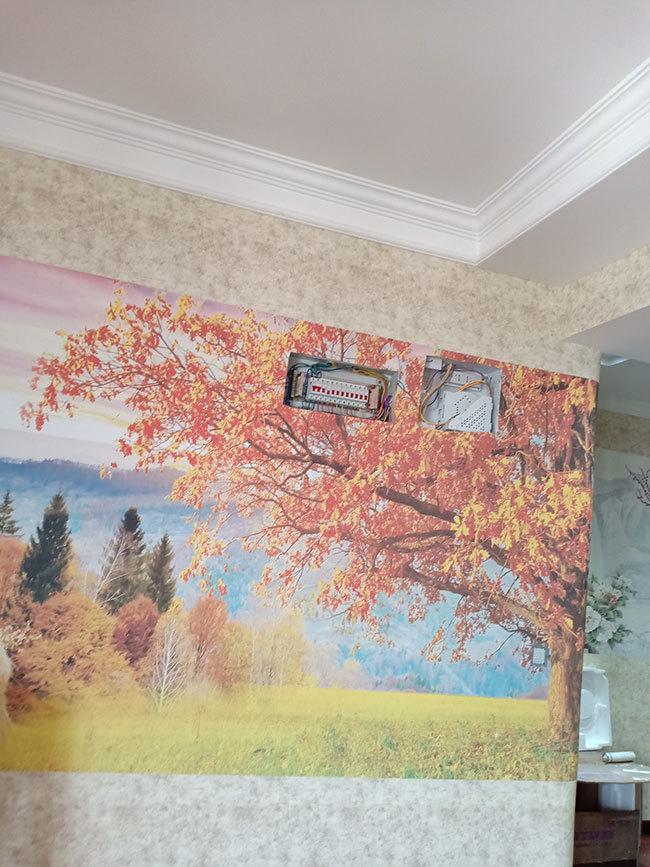 客厅安装好的风景画墙布