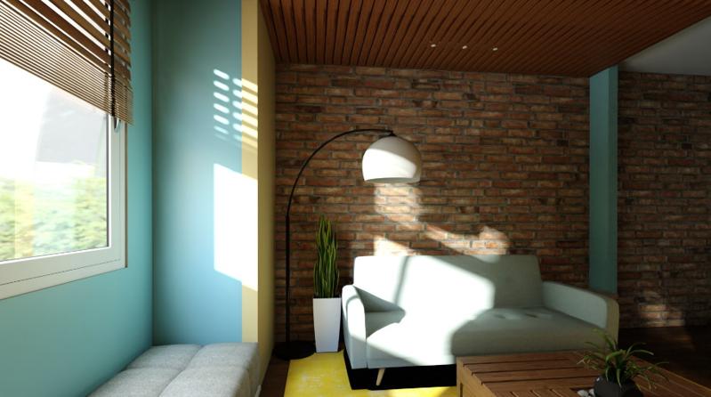 一室一厅混搭风格装修效果图——客厅装修效果图
