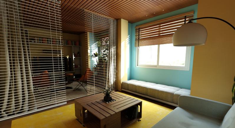 一室一厅混搭风格装修效果图——沙发背景墙效果图