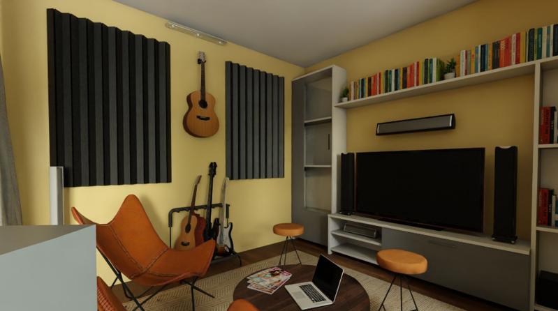 一室一厅混搭风格装修效果图——黄色背景墙