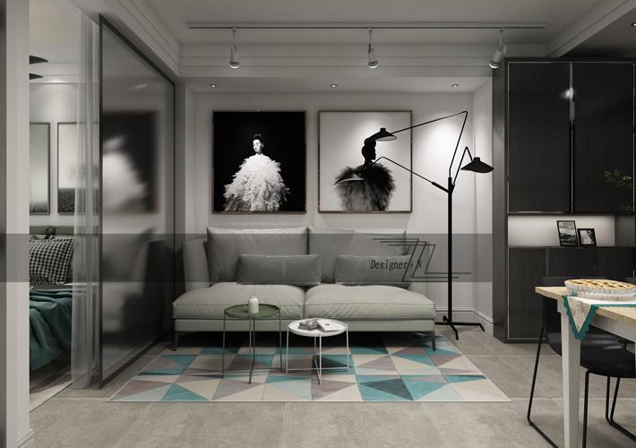 57平米现代风格效果图