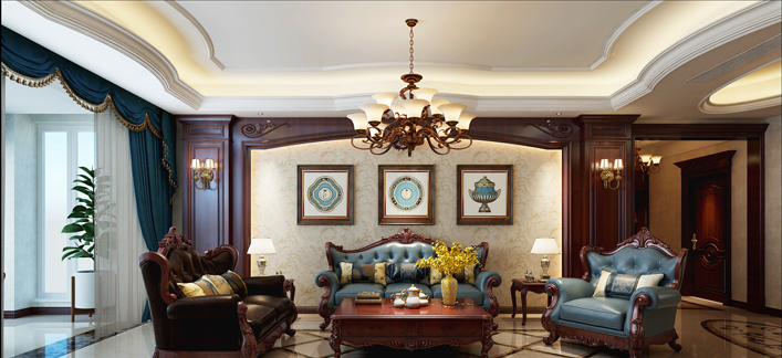 重庆旧房装修案例_360平米美式风格装修效果图85.